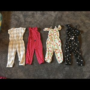Five toddler rompers